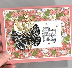 Brass Butterfly Cards, Butterfly Flowers, Beautiful Butterflies, Flower Cards, Love Stamps, Greeting Cards Handmade, Stampin Up Cards, Cardmaking, Card Ideas