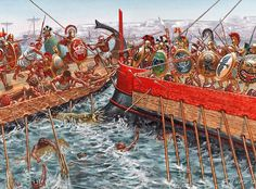"""""""Battle of Alalia: The naval battle took place between 540 BC and 535 BC off the coast of Corsica between Greeks and the allied Etruscans and Carthaginians"""", Giuseppe Rava"""