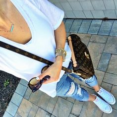 IG @mrscasual <click through to shop this look> White Tee, Ripped cropped skinny Jeans. Converse, BP sunglasses. Louis Vuitton pochette Metis. Buy this easy outfit for summer on mrscasual.com!