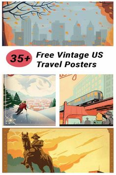 Free Vintage US Travel Poster Printable Images Put your favorite destinations or dream travel list on your walls with this collection of over 30 free vintage US travel poster printables. Travel Gallery Wall, Travel Wall, Us Travel, Travel List, Beach Travel, Free Prints, Wall Prints, Poster Sport, Free Printable Art
