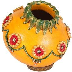 BoonToon offers Kundan minakari matki with lid at best prices. Have a look on All Jaipur Handicrafts Online. Call 7877925959 for bulk enquiries. Kalash Decoration, Thali Decoration Ideas, Vase Crafts, Clay Crafts, Bottle Art, Bottle Crafts, Coconut Decoration, Diwali Decorations At Home, Arts And Crafts Storage