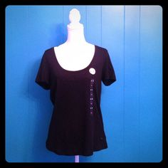 NWT PINK black tee Brand new VS PINK solid black tee shirt. Has tags and size sticker still attached. Lower scoop neck. Price firm, no trades. PINK Victoria's Secret Tops Tees - Short Sleeve