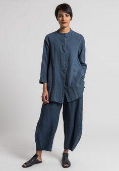 Oska Linen Pinstripe Tove Pants in Denim Tesettür Şalvar Modelleri 2020 Oska Clothing, Look Fashion, Fashion Tips, Fashion Design, Denim Fashion, 90s Fashion, Korean Fashion, Spring Fashion, Linen Dresses