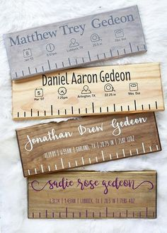 Never forget how big your baby was when they were born! handmade custom birth rulers are cut to be the length of your baby at birth and proudly display their birth stats with the cutest icons for their nursery or photos. Homemade Christmas Gifts, Homemade Baby Gifts, Neighbor Gifts, Newborn Baby Gifts, Boy Newborn, Baby Kind, Baby Crafts, Newborn Crafts, Vinyl Projects