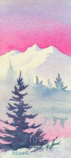 Pink Sky. watercolor by Teresa Ascone #simplelandscape