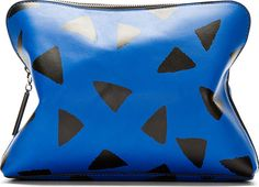 3.1 Phillip Lim Blue Leather Printed 31 Minute Cosmetic Clutch