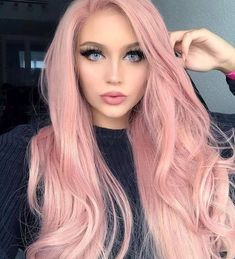 ALICE Lace Front Wigs Long Pink Wig, Rose Blonde Middle Part Glueless Synthetic Full Wig with Natural Body Wave for Women Girls Gold Hair Colors, Ombre Hair Color, Pink Color, Wig Hairstyles, Straight Hairstyles, Long Haircuts, Makeup Hairstyle, Black Hairstyles, Summer Hairstyles