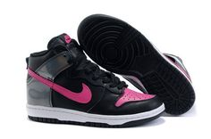 the latest 92684 e16c9 Women Nike Dunk High Black Pink White - I would love to glue taps on these  and wear them to TAProbics!