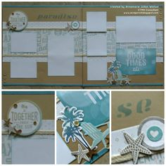 CTMH No Worries Scrapbooking Page Layout using stencil technique.