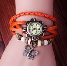 Hot vintage butterfly mujeres del cuero genuino de la vaca relojes de pulsera de cuarzo ladies watch kow007(China (Mainland))