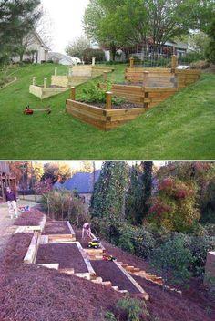 5 Landscape Ideas for Steep Backyard Hill   Balloondir Steep Backyard, Sloped Backyard Landscaping, Landscaping On A Hill, Sloped Yard, Landscaping Ideas, Backyard Ideas, Small Backyard Pools, Steep Hillside Landscaping, Terrace Ideas