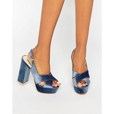 Daisy Street Blue Crushed Velvet Platform Heeled Sandals (175 ILS) ❤ liked on Polyvore featuring shoes, sandals, blue, ankle strap high heel sandals, high heel sandals, peep toe sandals, ankle strap heel sandals and platform shoes