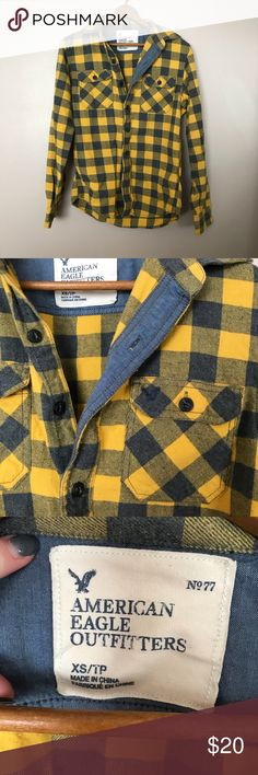 ⭐️HOST PICK⭐️ AE plaid shirt! Yellow and gray/navy American Eagle plaid shirt. Men's shirt but I always wore it with jeans and a cute T-shirt underneath! American Eagle Outfitters Shirts Casual Button Down Shirts