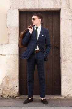 Designer Plaid Suit and Necktie