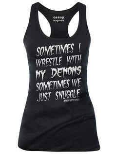 "Women's ""Sometimes I Wrestle With My Demons"" Tank by Aesop Originals (Black)"