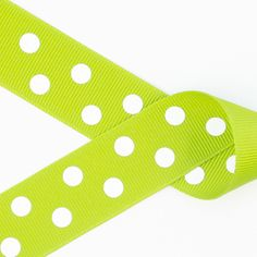 Lime Green with White Polka Dots Grosgrain Ribbon ~ 2 1/4in, 1 1/2in, 7/8in https://squareup.com/market/princess-bubbles-boutique/hair-bow-white-polka-dots-grosgrain-ribbon
