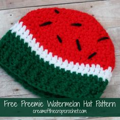 What a cute watermelon hat?! A little baby girl would look adorable with this hat on! Make sure to share your finished projects on ourFacebook Page! Get a nice and neat PDF of this pattern onCraftsy for $1! Pin this pattern for later! Skill Level Intermediate Notes This pattern is in American Crochet Terms. This pattern is for 1-3 lb preemie, 3-5 lb preemie, 6-8 lb preemie, 9-11 lb preemie