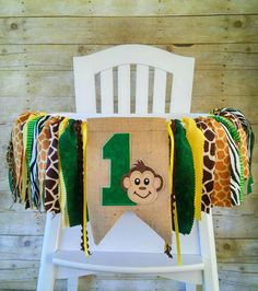 f706f1cee Jungle Safari Birthday Banner Highchair High by SeacliffeCottage ...