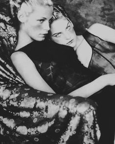 Tanga Moreau and Lonneke Engel for Alberta Ferretti campaign F/W 1997 by Paolo Roversi