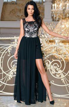 7fa25bb944 Bicotone 2171-06 sukienka maxi czarna Przepiękna wieczorowa długa sukienka  idealnie sprawdzi się podczas wyjątkowych