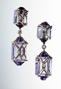 """Herkimer"" amethyst drop earrings with 18k gold and bezel-set diamonds by Verdura ($16,850)"