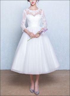 50er Jahre Brautkleid mit 3/4 Ärmeln