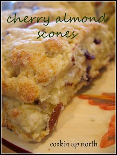 Scones.I just love them when they are chock-full of cherries and almonds! I also like the almond flavoring, actually I pretty much like anything with almond flavoring in it. I usually add a bit more t
