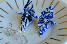 Blue and White Cranes earrings Japanese Gift by ThePaperFuschia