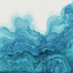"tobias tavera / deluge / pigment on panel, 48""x 48,"" 2014"
