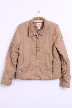 Guess Jeans Womens XL Waterproof Jacket Padded Fleece Inside Brown - RetrospectClothes