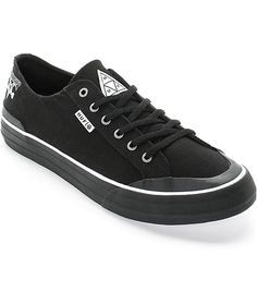 Throw on a stylish collab that sports a black canvas upper with a molded rubber toe cap plus a soft cushioned insole for comfort and Thrasher HUF logo detailing throughout. Currently on Sale For: $59.99 and Buy One Get One Fifty Percent Off, Originally Priced at: $75.00, Available in Size Nine;
