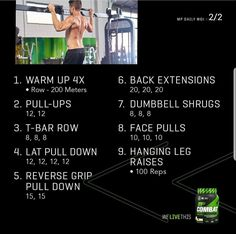 Daily Workouts, Gym Workout Tips, Biceps Workout, Muscle Pharma, Musclepharm Workouts, Fitness Tips, Health Fitness, T Bar Row, Face Pulls