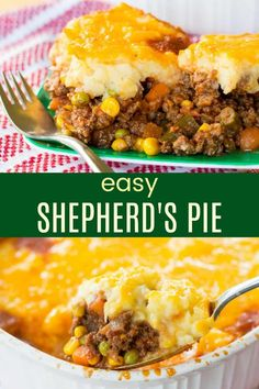 Easy Shepherd's Pie Recipe - hearty, savory ground beef and vegetables are topped with cheesy mashed potatoes and baked till bubbly in this simple version of the traditional casserole. A family-favorite! Easy Pie Recipes, Dinner Recipes, Cooking Recipes, Meal Recipes, Cheese Recipes, Amazing Recipes, Dinner Entrees, Kraft Recipes, Irish Recipes