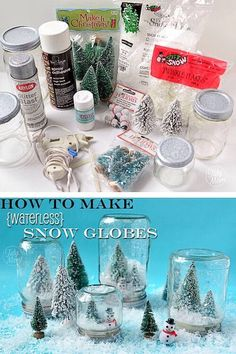 DIY How To Make Waterless Snow Globes!!!
