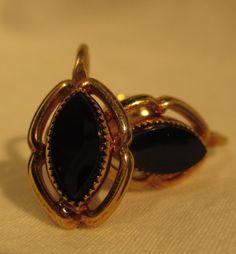 Vintage 1/20 12k gold filled black onyx clip on earrings by HellaKitties on Etsy