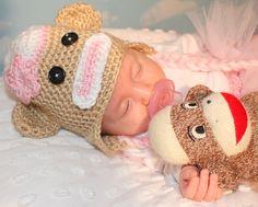 Baby Crochet Hat, Girl Sock Monkey Hat, Newborn Hat, Baby Hat, Baby Girl Hat, Newborn Photo Prop. $25.00, via Etsy.