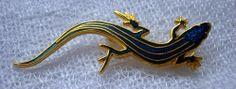 1986 wM Spear Designs Lizard Blue Enamel Brooch