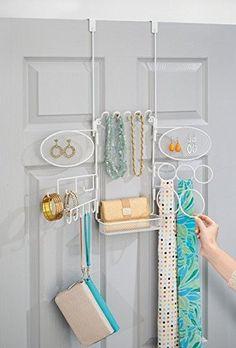 mDesign Hängender Modeschmuck-Organizer für Ringe, Ohrringe, Armbänder, Ketten - zum Hängen über die Tür, Weiß: Amazon.de: Küche & Haushalt