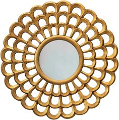 """AmazonSmile: Creative Co-op 23.5"""" Round Hand-Carved Scalloped Wood Wall Mirror, Antique Gold: Home & Kitchen"""