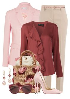 """Ruffled Blouse & Embellished Bucket Bag"" by brendariley-1 ❤ liked on Polyvore featuring Altuzarra, DKNY, Theory, Aranáz, Dorothy Perkins, Christian Louboutin, Salvatore Ferragamo and Saks Fifth Avenue"