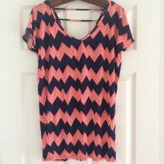 Pink & Navy Chevron Top Cute patterned top, can be worn as a bathing suit coverup or top, super cute with distressed jean shorts. V neck with strappy detail on back. Xhilaration Tops