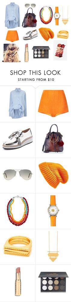 """Colorful Orange"" by hien-anhhs on Polyvore featuring mode, Victoria, Victoria Beckham, Emilia Wickstead, Loeffler Randall, Ray-Ban, Topshop, Hermès, Shany et Lime Crime"
