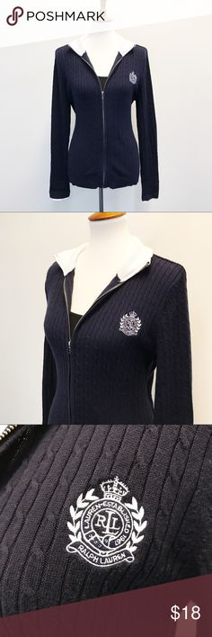 """Ralph Lauren Cable Knit Jacket Super cute and sporty zip up jacket from Lauren Ralph Lauren! Navy blue with white trim. Cable knit with a Ralph Lauren emblem. In perfect condition. Smoke and pet free home. There is no size on the tag but it measures to a size large according to the Lauren Ralph Lauren size chart. Measurements taken laid flat. 20"""" armpit to armpit. 18"""" waist. 26"""" long shoulder to hem. 26"""" long sleeves. Lauren Ralph Lauren Jackets & Coats"""