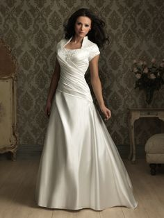 Satin A-Line Square Short Sleeves Wedding Dress With Chapel Train