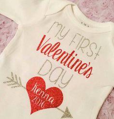 First Valentine's Day Onesie on Mercari First Valentines Day Baby, Valentine Gift For Dad, Little Valentine, Valentines Day Shirts, Vinyl Shirts, Kids Shirts, Custom Shirts, Glitter Heat Transfer Vinyl, Baby Crafts