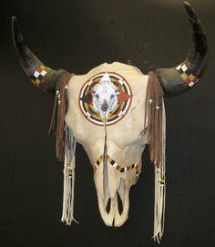 Native American Bison   buffalo skull depicting sacred native american white buffalo native ...