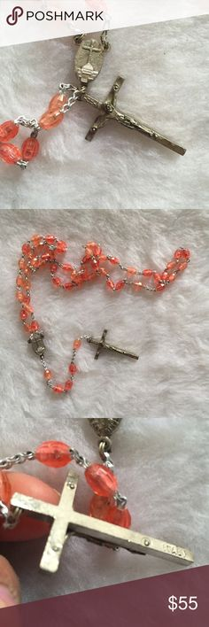 Vtg Italian cross coral rosary necklace Still in good condition Vintage Jewelry Necklaces