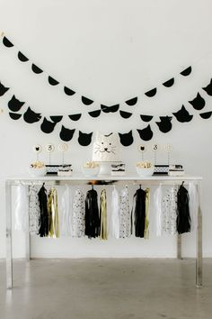 Black White and Gold Kitty Cat Themed Birthday Party Desert Table. Read the DIY turoials to create this look on creativewifeandjoyfulworker.com