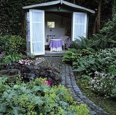 If you have an unused shed in your backyard, add a walkway, trellis and plants as a path to create a outdoor reading area.