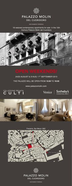 Palazzo Molin del Cuoridoro Open days 24/ 25 AUGUST and 31AUG/ 1 SEPTEMBER